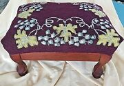 Antique Foot Stool Floral Leaf And Grapes Needlepoint Wood Curve Legs 9 Tall