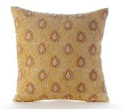 Luxury Couch Throw Pillow Silk 14x14 Inch Yellow Lace Net - Vintage Love Letter