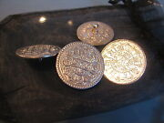 Four Large Silver Coins Into Silver Buttonstibet/buddhism, Tangka, Thubten C1906