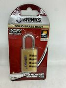 Brinks Combination Padlock Home Security Lock Resettable Solid Brass 1-3/16 In.