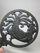 Vintage Pair Cast Iron Rooster Stove Table Top Trivet Chicken Left/right