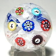 Antique Baccarat Miniature Spaced Concentric Millefiori Paperweight Four Gridels