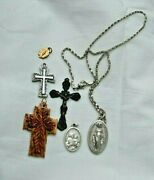 Lot Of 3 Christian Medals And 3 Crucifixes Italy Carved Wood Miraculous Mary Chain