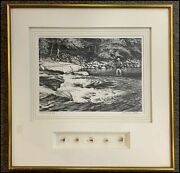 Signed Churchill Ettinger Print Of Fly Fishing Scene And Early 20th Century Flies
