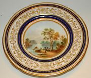 19th Century Porcelain Plate Hp Landscape - Tandc Ford Staffordshire