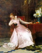 Oil Painting Pierre Charles Comte - Best Of Friends Beauty Noble Lady With Cat