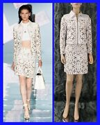 S/s 15 Look25 Versace White Laser Cut Leather Jacket Skirt Suit As Seen On Katy