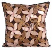 16x16 Inch Couch Pillow Cover Handmade Brown Faux Leather Floral - Cake And Pie