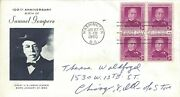 Stamp Us Scott 988 Samuel Gompers 3 Cent 1950 Fdc With Art-block Of 4
