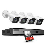 Sannce 4ch Dvr 1080p Video Home Security Camera System Outdoor Cctv H.264+ Onvif