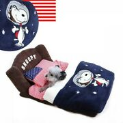Peanuts Snoopy Astro Bed For Small Dog Breeds With Pillow Bedding From Japan