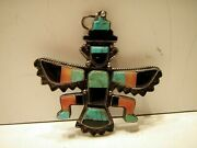 Vintage Silver Knife Wing Turquoise Figure Pendant Brooch Pin Knifewing