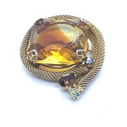 Topaz Colored Brooch Faceted Glass Rhinestone Mesh Gold Tone Unsigned Vintage