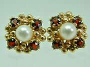 Pretty 9ct Yellow Gold Garnet And Cultered Pearl Cluster Stud Earrings