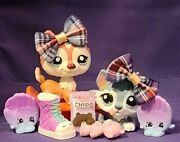 Authentic Littlest Pet Shop Lps 2036 1793 Husky Baby Blue Pink Red White Dog
