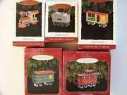 Hallmark Yuletide Central Train Ornaments 1994-1998 With Boxes Complete Series