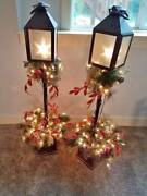 Pair Of 4 Ft Tall Lighted Christmas Tree Lamp Post Lantern Porch Trees Decorated