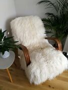 Rare Art Deco Vintage White Long Curly Haired Sheepskin Bentwood Rocking Chair