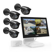 Sannce Hd 1080p Security Camera System 10.1'' Monitor 4ch Dvr Outdoor Exir Night