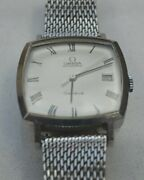 Vintage Omega Geneve Automatic Square Stainless Mens Wristwatch Mesh Band