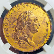 1788 Great Britain George Iii. Proof Gilt Copper Pattern Andfrac12 Penny Coin. Ngc Au+