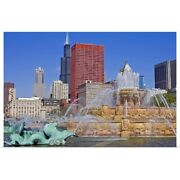 Buckingham Fountain In Grant Park With Poster Art Print Chicago Home Decor
