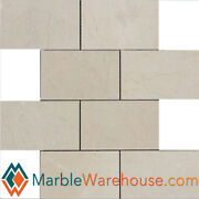 Crema Marfil Mosaic Marble Tile 12x12 Rectangle Honed 3x6+ Free Shipping
