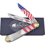 Bear And Bull Cutlery Trump 2-blade Ox Horn And Red Stone Handle Trapper Knife