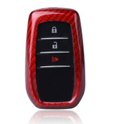 Red Real Carbon Fiber Keychain Key Fob Cover Shell Case Holder For Toyota Hilux
