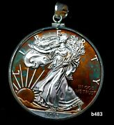 Silver American Eagle Coin With Bezel For Pendant Necklace B483