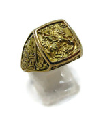 New Signet Men Ring Orthodox Christian Religious St. George Yellow Gold