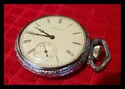 1897 Working Elgin Pocket Watch - Size 16 And 7 Jewels Open Face Wind Up 6694210