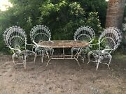 Rare Antique 5 Pc Set Strong Mid Century 4 Peacock Fan Chairs And Garden Table