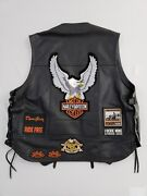 Harley-davidson Leather Vest 2xl + 14 Patches And Pins Sturgis Hog Early 2000s