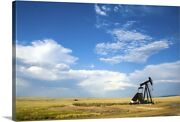 Oil Rig In The Savannah Of Wyoming Canvas Wall Art Print, Wyoming Home Decor