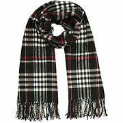 Womens Plaid Scarf Cashmere Feel Made In Italy Black At Clothing Store