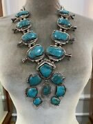 Vintage Turquoise And Sterling Silver Squash Blossom Necklace