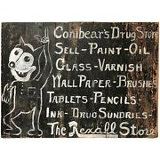 Conibearandrsquos Rexall Drug Store Folk Art Hand Painted Wooden Advertising Sign