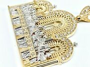 10k Yellow Real Gold Big Large Last Supper Jesus Pendant Charm 35g C.z 3inch
