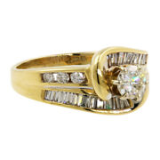 Contemporary Vintage 14k Yellow Gold Diamond Wrap Engagement Ring