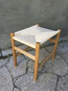 Solid Oak Stool With Woven Danish Cord Seat Woven Bench