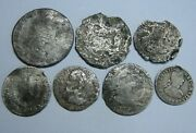 Spain 1/2 Real + 1 Real + 2 Real Mexico Spanish Colonial Era Lot 7 Silver Coins