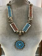 Vintage Turquoise And Coral Reversible Silver Necklace