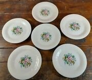Set Of 6 Salad Plates Victorian Rose Tabletops Unlimited Dinnerware China 7.75