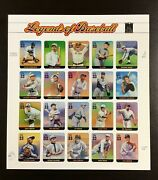 3408 Legends Of Baseball. 10 Mnh 33 C Sheet Of 20. Issued In 2000