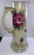 """Antique Hand Painted Large Tankard Pitcher Pink Roses 12"""" As Is Limoges"""