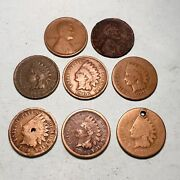 Us Coin Lot Pennies Indian Head Cent Cn Wheat Penny 1c Type Coins 8 Total