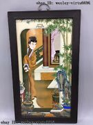 Palace Wooden Inlaid Porcelain Figures Ladies Girl Oriental Woman Female Screen