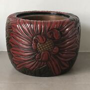 Pm Antique Hibachi Traditional Japanese Lacquer Wood Fire Holder Hand Carved