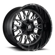 24x14 D611 Fuel Stroke Gloss Black And Milled Wheels 5x5/5x5.5 -75mm Set Of 4